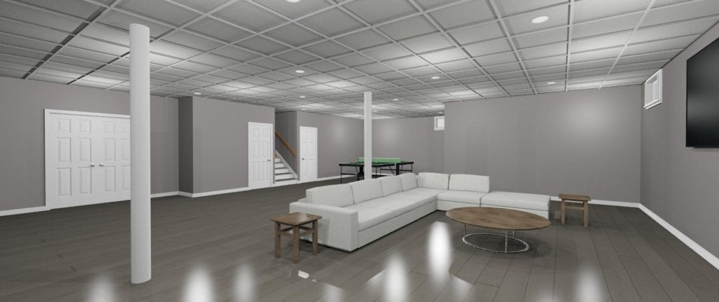 RI basement remodel 3D