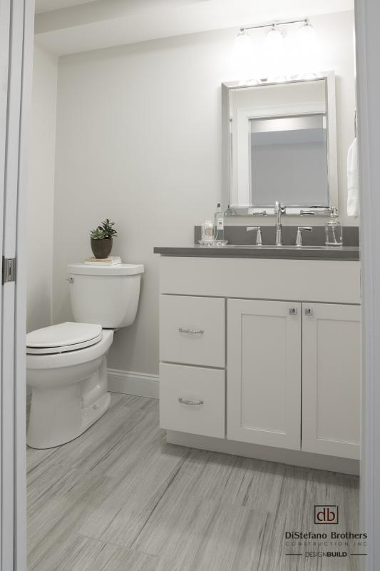 Unfinished Basement Transformation & Powder Room Remodel